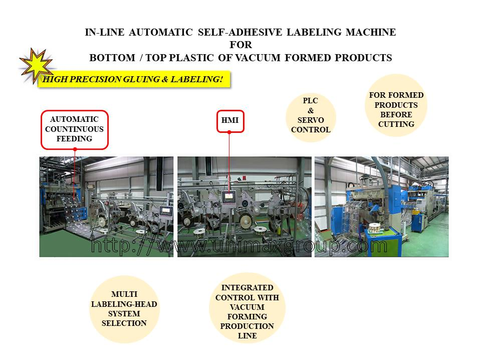 Vacuum Forming Products Automatic In-Line Bottom / Top Labeling Machine