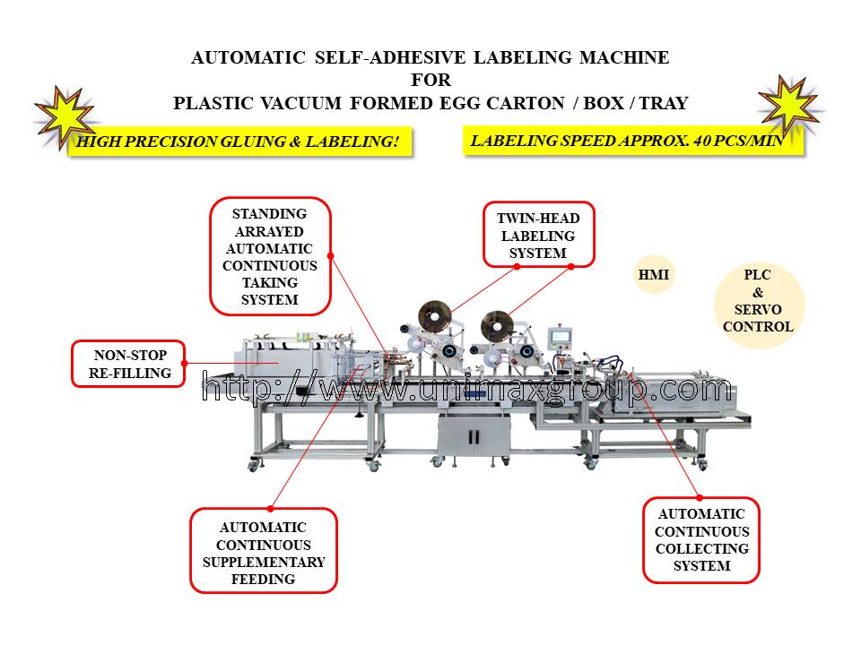 Automatic Labeling Machine with Automatic Feeding & Collecting for Vacuum Formed Egg Box